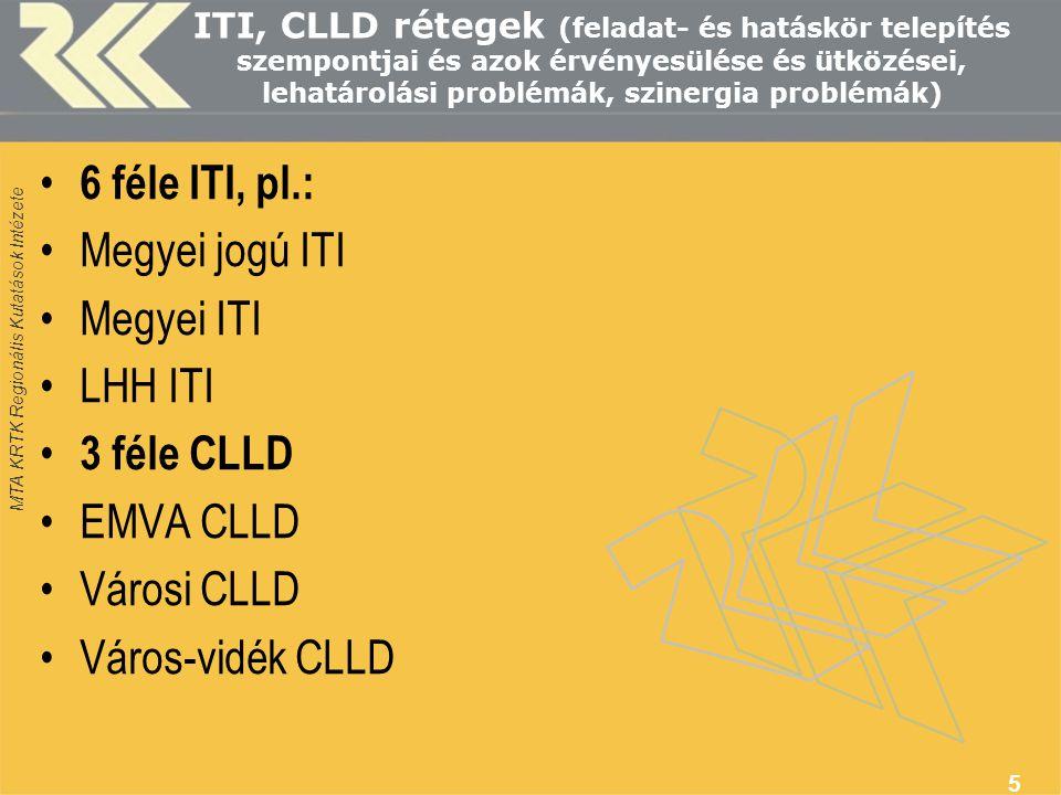 MTA KRTK Regionális Kutatások Intézete ITI, CLLD rétegek (feladat- és hatáskör telepítés szempontjai és azok érvényesülése és ütközései, lehatárolási problémák, szinergia problémák) • 6 féle ITI, pl.: •Megyei jogú ITI •Megyei ITI •LHH ITI • 3 féle CLLD •EMVA CLLD •Városi CLLD •Város-vidék CLLD 5