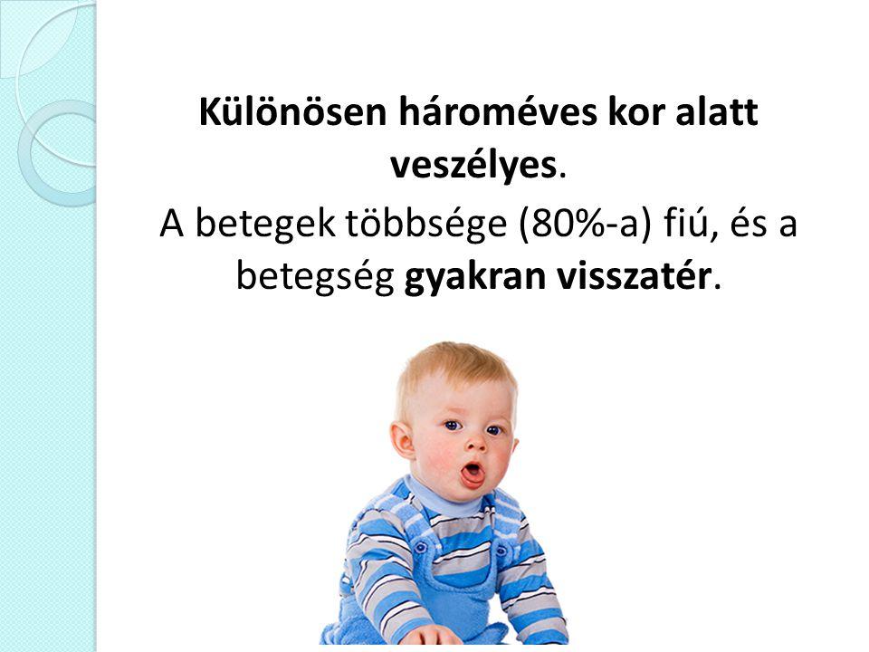 Különösen hároméves kor alatt veszélyes. A betegek többsége (80%-a) fiú, és a betegség gyakran visszatér.