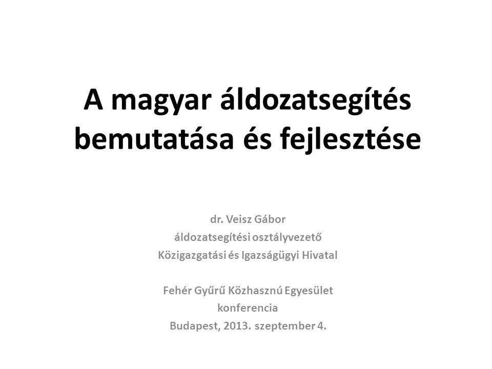 A magyar áldozatsegítés bemutatása és fejlesztése dr. Veisz Gábor áldozatsegítési osztályvezető Közigazgatási és Igazságügyi Hivatal Fehér Gyűrű Közha