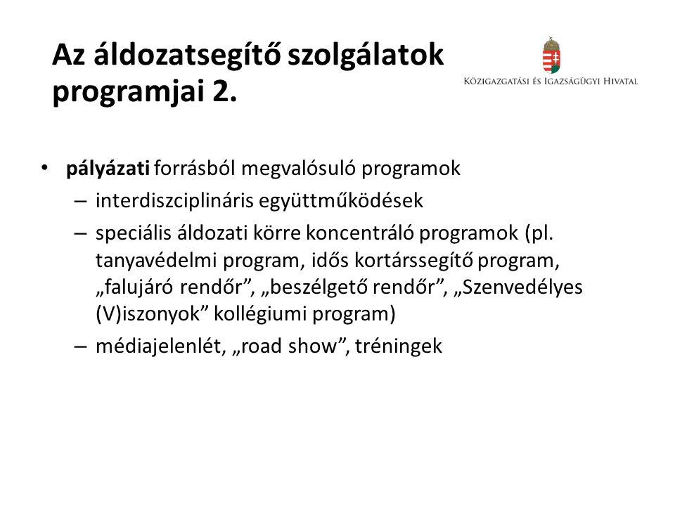 Az áldozatsegítő szolgálatok programjai 2. • pályázati forrásból megvalósuló programok – interdiszciplináris együttműködések – speciális áldozati körr