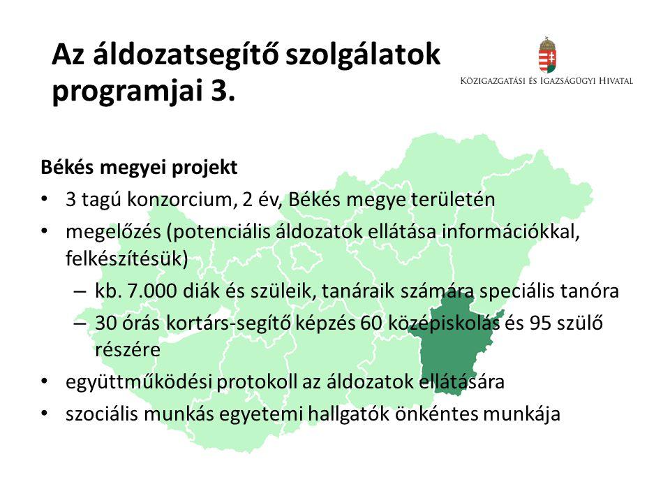 Az áldozatsegítő szolgálatok programjai 3. Békés megyei projekt • 3 tagú konzorcium, 2 év, Békés megye területén • megelőzés (potenciális áldozatok el