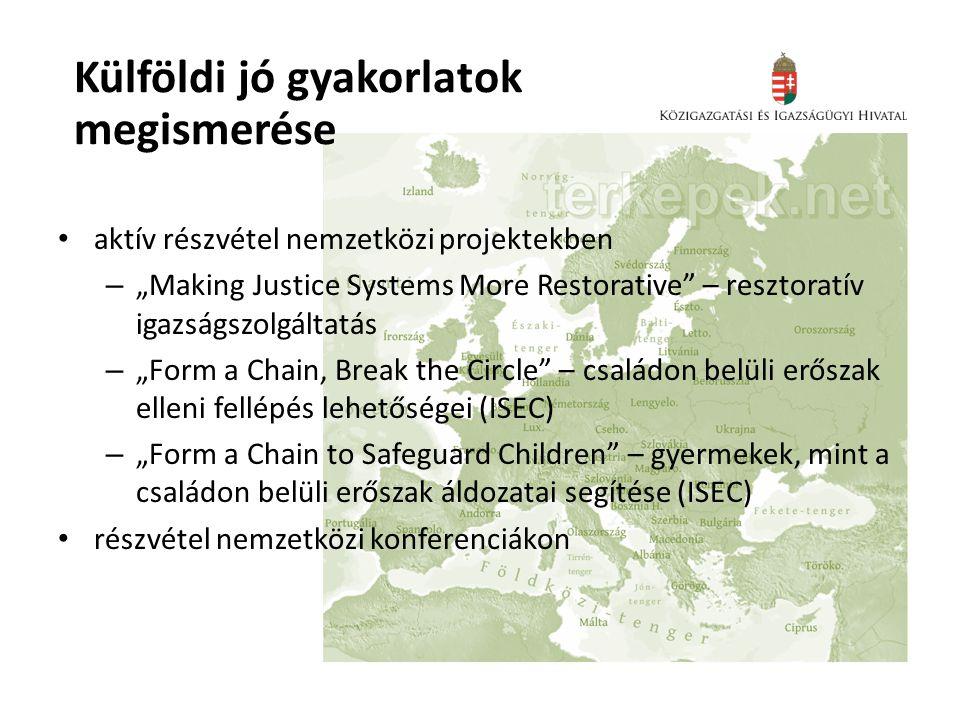 """• aktív részvétel nemzetközi projektekben – """"Making Justice Systems More Restorative"""" – resztoratív igazságszolgáltatás – """"Form a Chain, Break the Cir"""