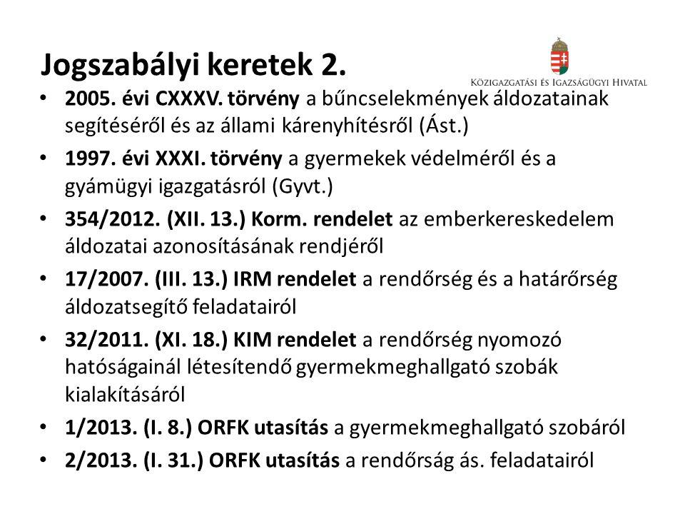 Jogszabályi keretek 2. • 2005. évi CXXXV. törvény a bűncselekmények áldozatainak segítéséről és az állami kárenyhítésről (Ást.) • 1997. évi XXXI. törv