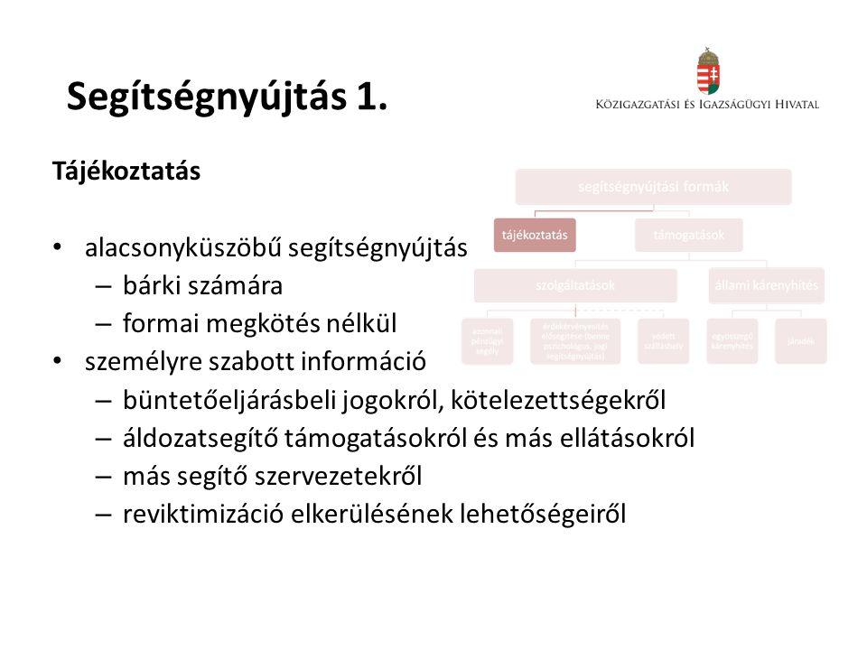 Segítségnyújtás 1. Tájékoztatás • alacsonyküszöbű segítségnyújtás – bárki számára – formai megkötés nélkül • személyre szabott információ – büntetőelj