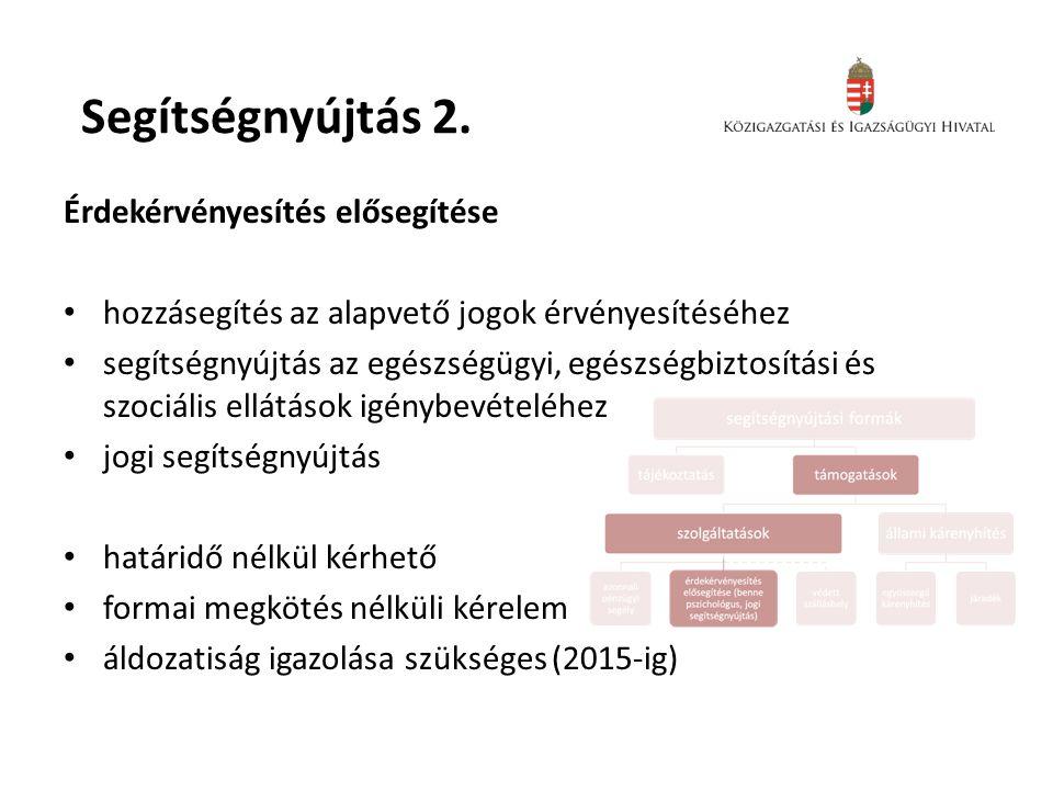 Segítségnyújtás 2. Érdekérvényesítés elősegítése • hozzásegítés az alapvető jogok érvényesítéséhez • segítségnyújtás az egészségügyi, egészségbiztosít