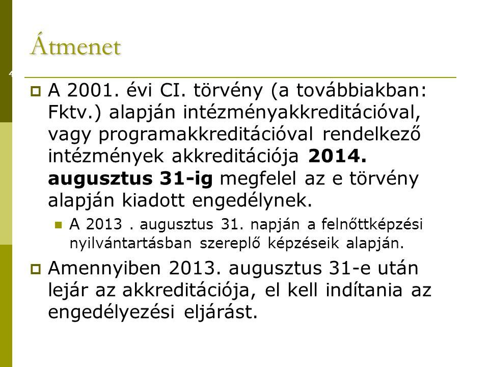 Átmenet  A 2001.évi CI.
