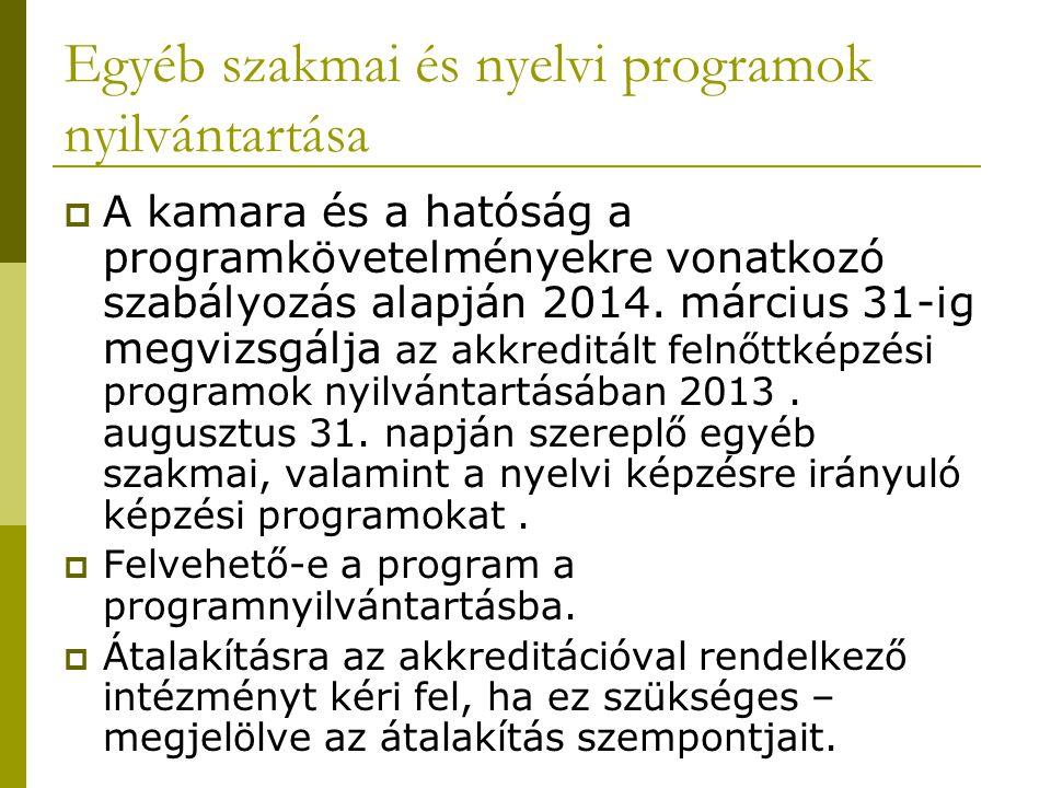 Egyéb szakmai és nyelvi programok nyilvántartása  A kamara és a hatóság a programkövetelményekre vonatkozó szabályozás alapján 2014. március 31-ig me