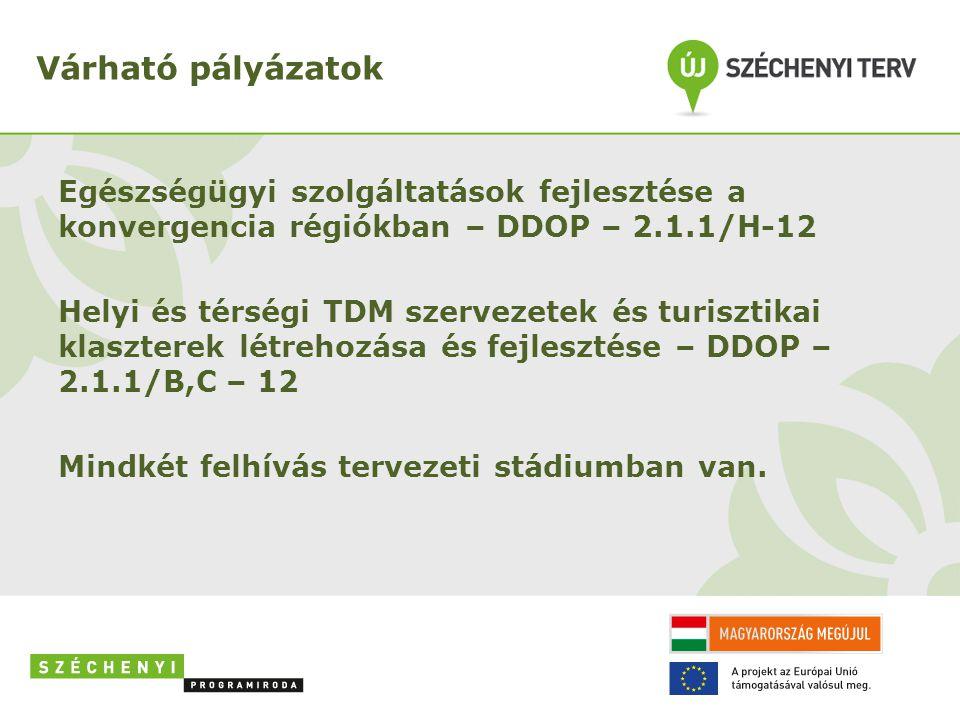 Várható pályázatok Egészségügyi szolgáltatások fejlesztése a konvergencia régiókban – DDOP – 2.1.1/H-12 Helyi és térségi TDM szervezetek és turisztika