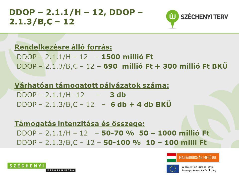 DDOP – 2.1.1/H – 12, DDOP – 2.1.3/B,C – 12 Rendelkezésre álló forrás: DDOP – 2.1.1/H – 12 – 1500 millió Ft DDOP – 2.1.3/B,C – 12 – 690 millió Ft + 300