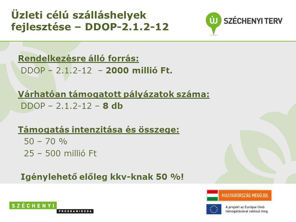Üzleti célú szálláshelyek fejlesztése – DDOP-2.1.2-12 Pályázók köre: - Kizárólag gazdasági társaságok - Jogi személyiségű gazdasági társaságok (GFO 11,139) - Jogi személyiség nélküli gazdasági társaságok (GFO 21) - Szövetkezetek (GFO 121, 123, 129) Benyújtási határidő: 2012.