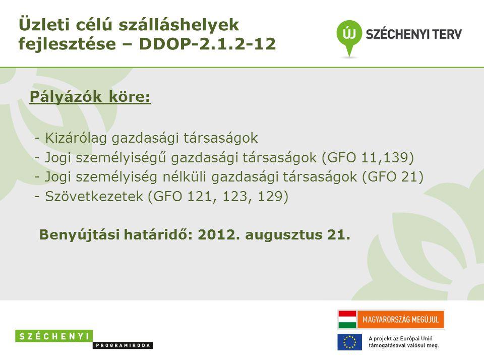 Üzleti célú szálláshelyek fejlesztése – DDOP-2.1.2-12 Pályázók köre: - Kizárólag gazdasági társaságok - Jogi személyiségű gazdasági társaságok (GFO 11