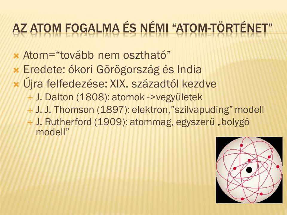 """ Atom=""""tovább nem osztható""""  Eredete: ókori Görögország és India  Újra felfedezése: XIX. századtól kezdve  J. Dalton (1808): atomok ->vegyületek """