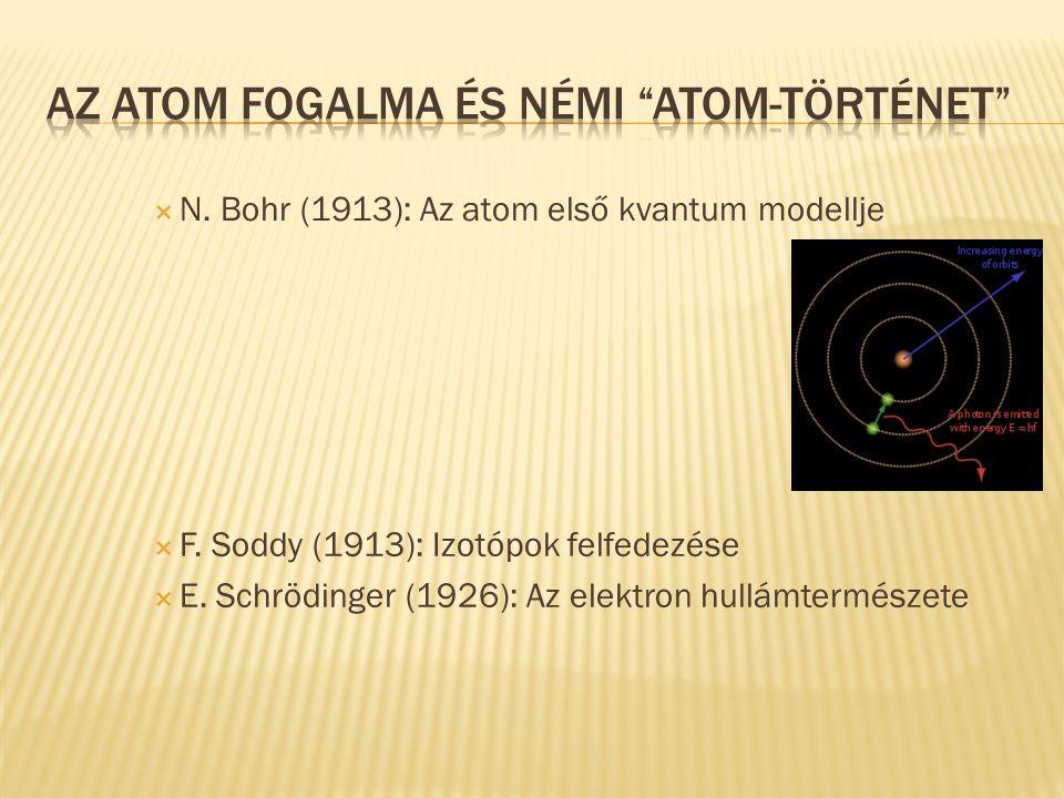  N. Bohr (1913): Az atom első kvantum modellje  F. Soddy (1913): Izotópok felfedezése  E. Schrödinger (1926): Az elektron hullámtermészete