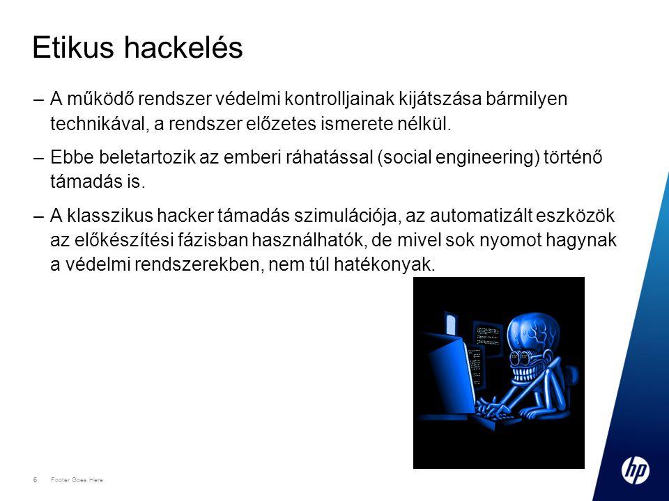 17 Footer Goes Here 17 CC szerinti sebezhetőségek –Kikerülés (bypassing): Ebbe a kategóriába tartozik minden olyan hiba, melynek során a rendszer beépített biztonsági eljárásait megkerülik, pl.