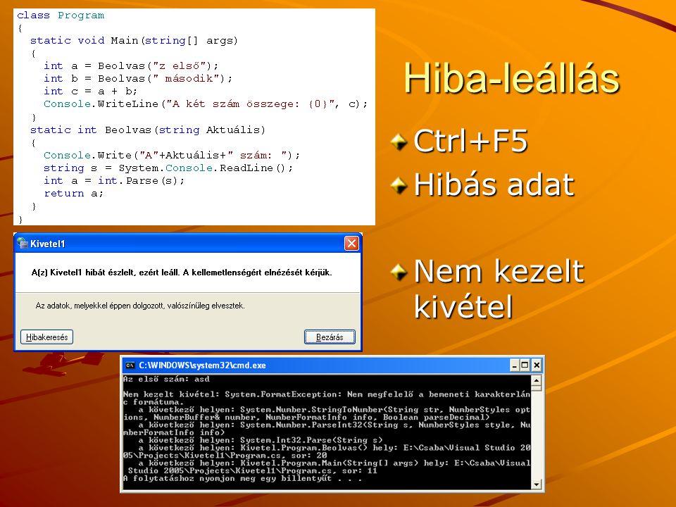 J.Zs.Cs.: Vizuális programozás (c) 2013 Hiba-leállás Ctrl+F5 Hibás adat Nem kezelt kivétel