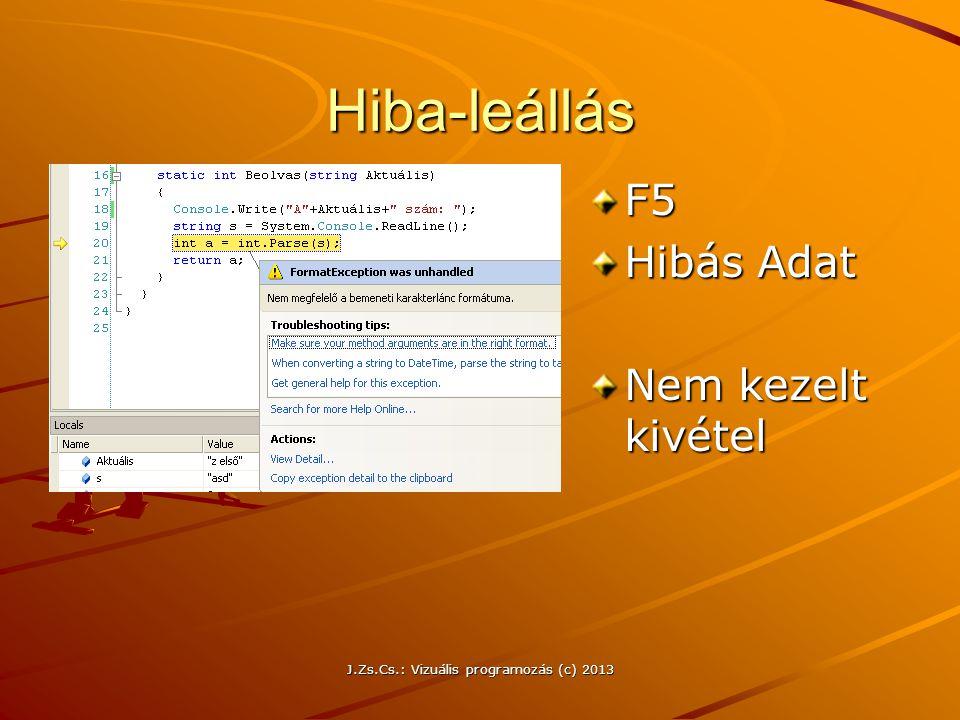 J.Zs.Cs.: Vizuális programozás (c) 2013 Hiba-leállás F5 Hibás Adat Nem kezelt kivétel