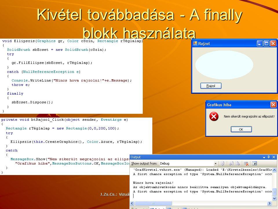 J.Zs.Cs.: Vizuális programozás (c) 2013 Kivétel továbbadása - A finally blokk használata