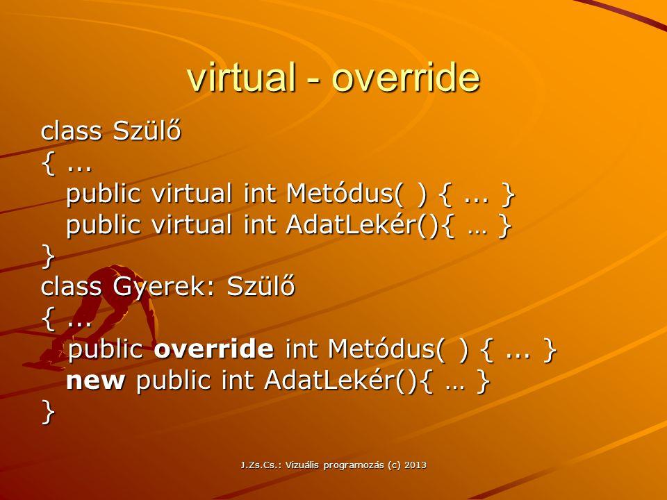 J.Zs.Cs.: Vizuális programozás (c) 2013 virtual - override class Szülő {...