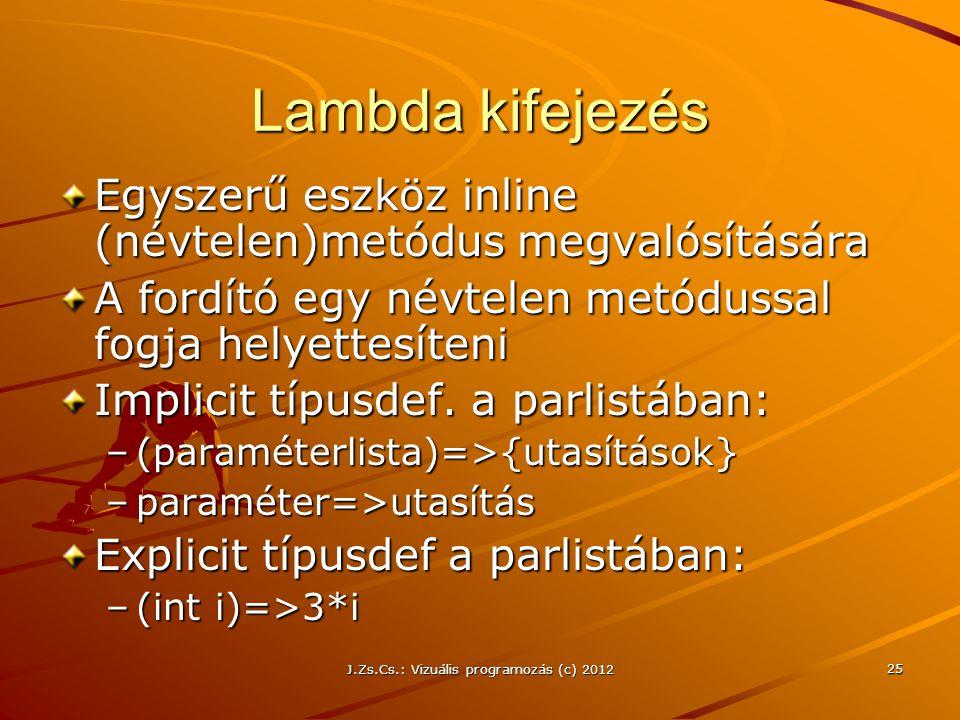 Lambda kifejezés Egyszerű eszköz inline (névtelen)metódus megvalósítására A fordító egy névtelen metódussal fogja helyettesíteni Implicit típusdef.