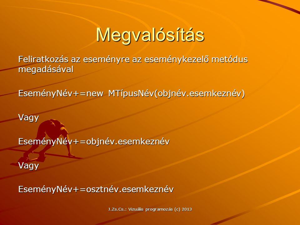 J.Zs.Cs.: Vizuális programozás (c) 2013 Megvalósítás Feliratkozás az eseményre az eseménykezelő metódus megadásával EseményNév+=new MTípusNév(objnév.esemkeznév) VagyEseményNév+=objnév.esemkeznévVagyEseményNév+=osztnév.esemkeznév