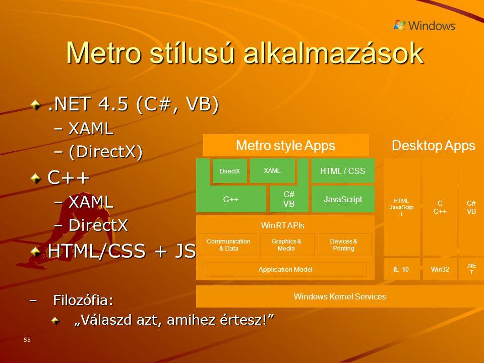 """55 Metro stílusú alkalmazások.NET 4.5 (C#, VB) –XAML –(DirectX) C++ –XAML –DirectX HTML/CSS + JS –Filozófia: """"Válaszd azt, amihez értesz! Communication & Data Devices & Printing WinRT APIs Graphics & Media Desktop Apps C C++ Win32 C# VB.NE T HTML JavaScrip t IE 10 Metro style Apps Application Model XAML JavaScript HTML / CSS C++ C# VB Windows Kernel Services DirectX"""
