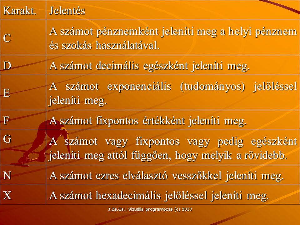 J.Zs.Cs.: Vizuális programozás (c) 2013 Karakt.Jelentés C A számot pénznemként jeleníti meg a helyi pénznem és szokás használatával.