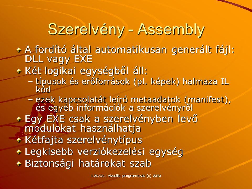 J.Zs.Cs.: Vizuális programozás (c) 2013 Szerelvény - Assembly A fordító által automatikusan generált fájl: DLL vagy EXE Két logikai egységből áll: –típusok és erőforrások (pl.