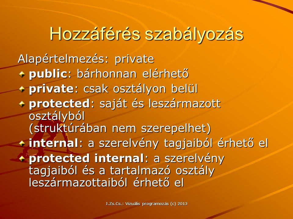 J.Zs.Cs.: Vizuális programozás (c) 2013 Hozzáférés szabályozás Alapértelmezés: private public: bárhonnan elérhető private: csak osztályon belül protected: saját és leszármazott osztályból (struktúrában nem szerepelhet) internal: a szerelvény tagjaiból érhető el protected internal: a szerelvény tagjaiból és a tartalmazó osztály leszármazottaiból érhető el