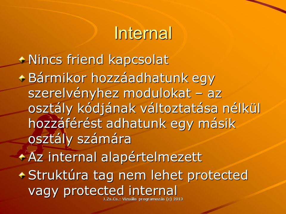 J.Zs.Cs.: Vizuális programozás (c) 2013 Internal Nincs friend kapcsolat Bármikor hozzáadhatunk egy szerelvényhez modulokat – az osztály kódjának változtatása nélkül hozzáférést adhatunk egy másik osztály számára Az internal alapértelmezett Struktúra tag nem lehet protected vagy protected internal