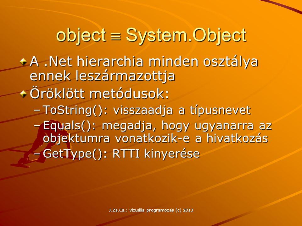 J.Zs.Cs.: Vizuális programozás (c) 2013 object  System.Object A.Net hierarchia minden osztálya ennek leszármazottja Öröklött metódusok: –ToString(): visszaadja a típusnevet –Equals(): megadja, hogy ugyanarra az objektumra vonatkozik-e a hivatkozás –GetType(): RTTI kinyerése