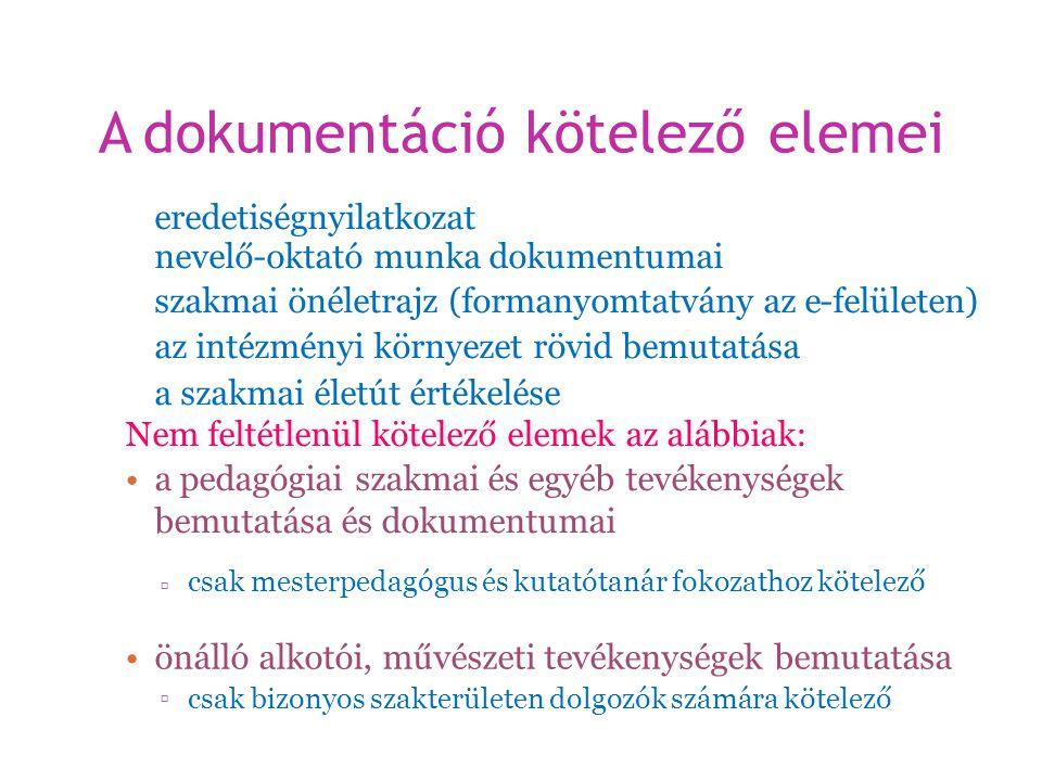 A dokumentáció kötelezőelemei eredetiségnyilatkozat nevelő-oktató munka dokumentumai szakmai önéletrajz (formanyomtatvány az e-felületen) az intézmény