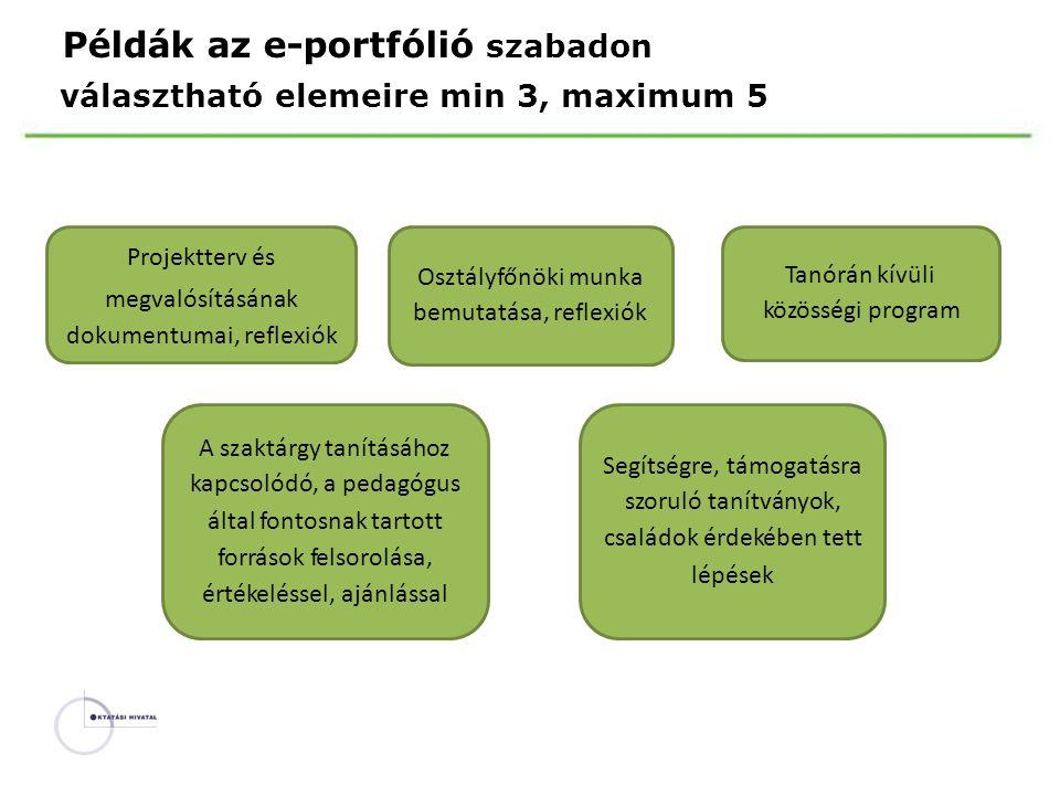 Példák az e-portfólió szabadon választható elemeire min 3, maximum 5 Projektterv és megvalósításának dokumentumai, reflexiók Tanórán kívüli közösségi