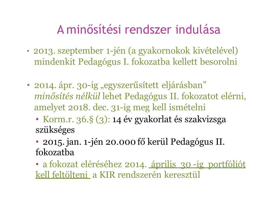 A minősítési rendszer indulása • 2013. szeptember 1-jén (a gyakornokok kivételével) mindenkit Pedagógus I. fokozatba kellett besorolni • 2014. ápr. 30