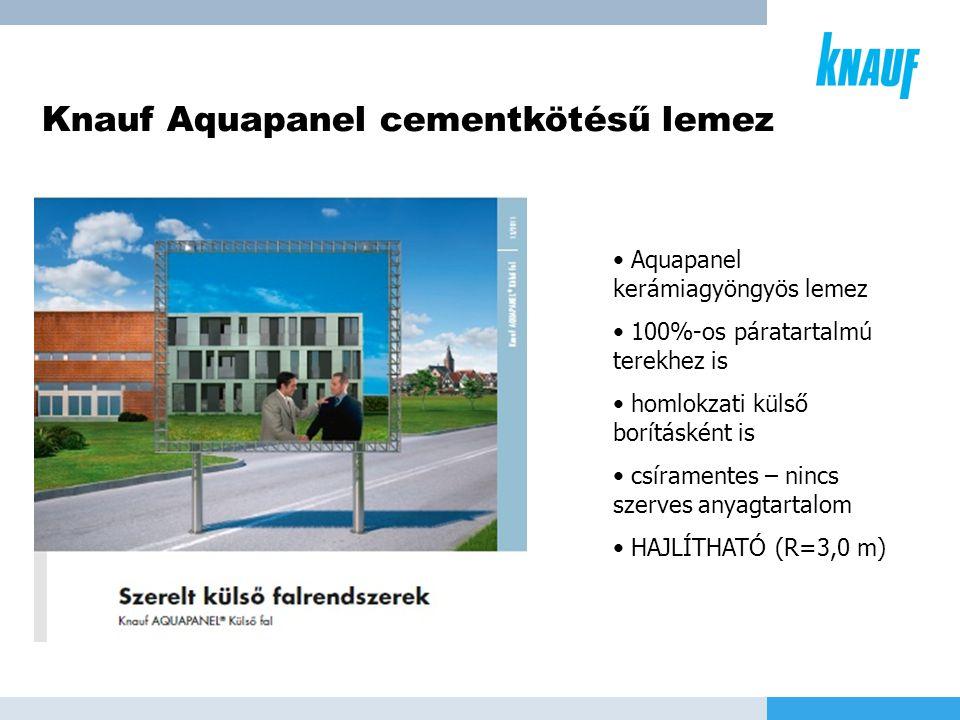 Knauf Aquapanel cementkötésű lemez • Aquapanel kerámiagyöngyös lemez • 100%-os páratartalmú terekhez is • homlokzati külső borításként is • csíramente