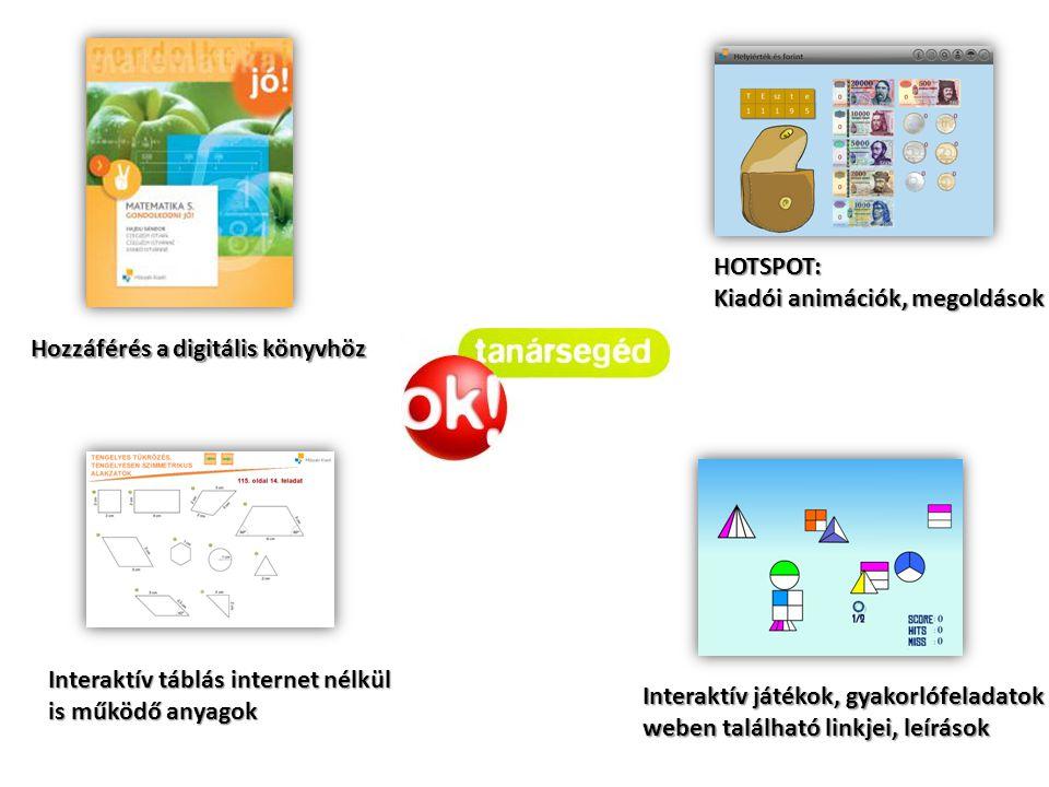 Hozzáférés a digitális könyvhöz HOTSPOT: Kiadói animációk, megoldások Interaktív táblás internet nélkül is működő anyagok Interaktív játékok, gyakorló