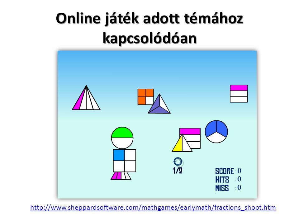 http://www.sheppardsoftware.com/mathgames/earlymath/fractions_shoot.htm Online játék adott témához kapcsolódóan