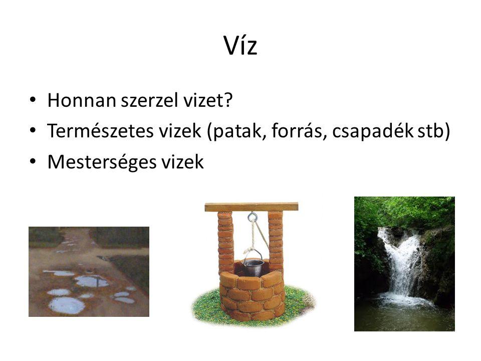 Víz • Honnan szerzel vizet? • Természetes vizek (patak, forrás, csapadék stb) • Mesterséges vizek