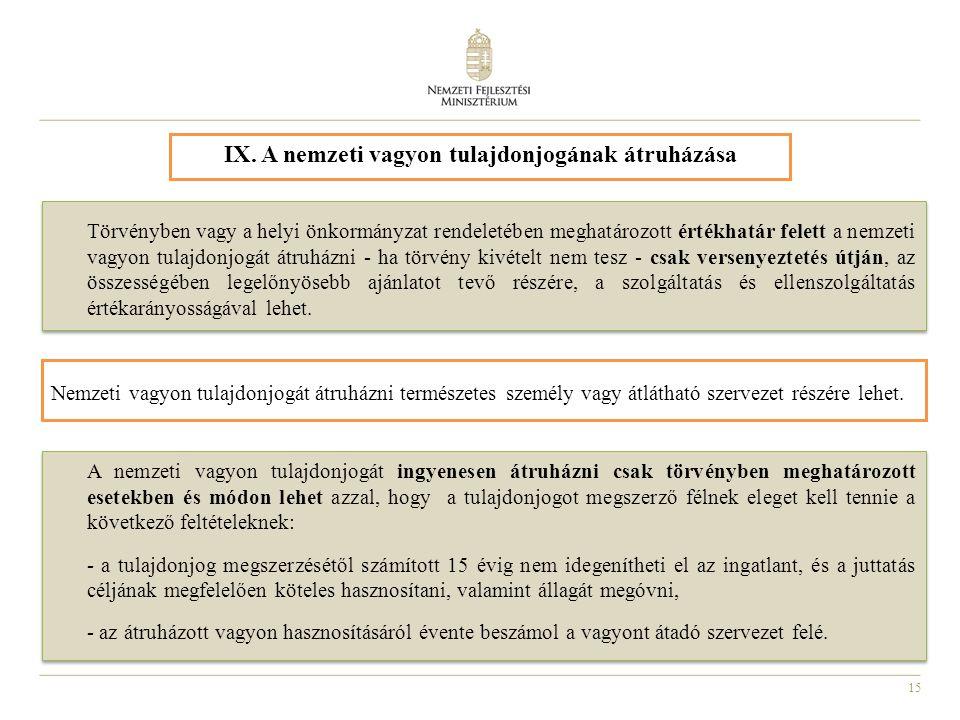 15 IX. A nemzeti vagyon tulajdonjogának átruházása A nemzeti vagyon tulajdonjogát ingyenesen átruházni csak törvényben meghatározott esetekben és módo