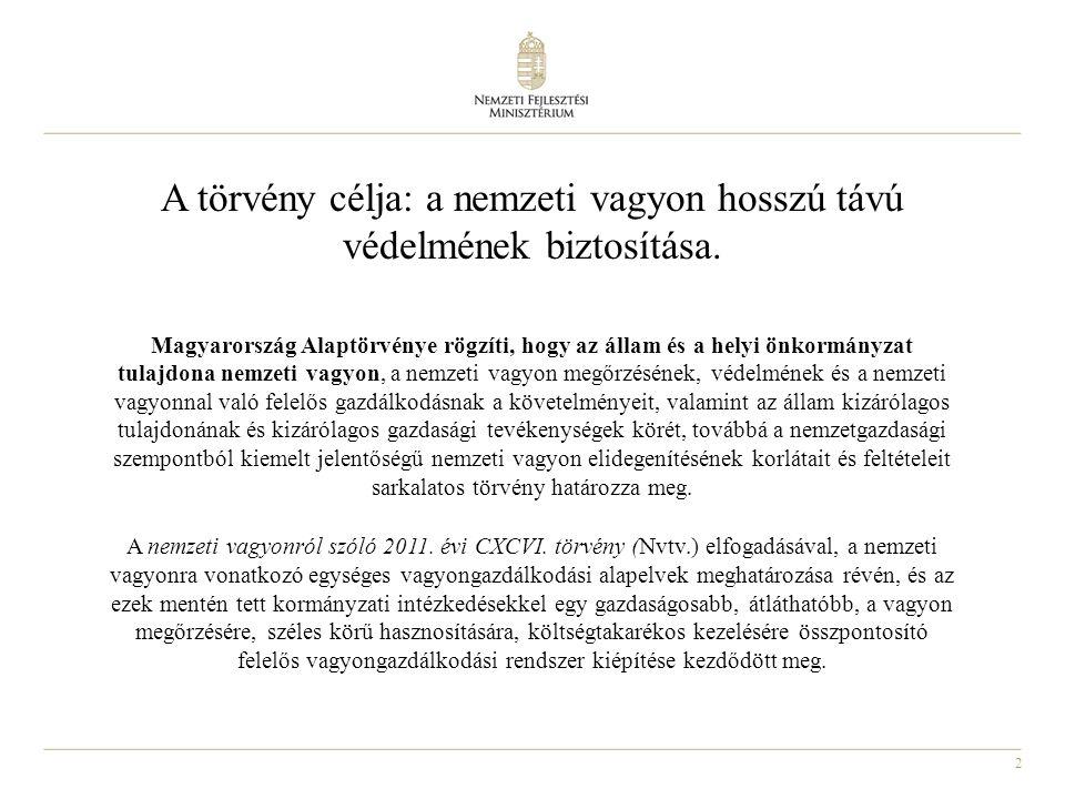 2 A törvény célja: a nemzeti vagyon hosszú távú védelmének biztosítása. Magyarország Alaptörvénye rögzíti, hogy az állam és a helyi önkormányzat tulaj