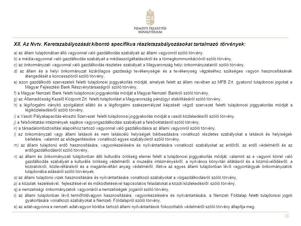 20 XII. Az Nvtv. Keretszabályozását kibontó specifikus részletszabályozásokat tartalmazó törvények: a) az állam tulajdonában álló vagyonnal való gazdá