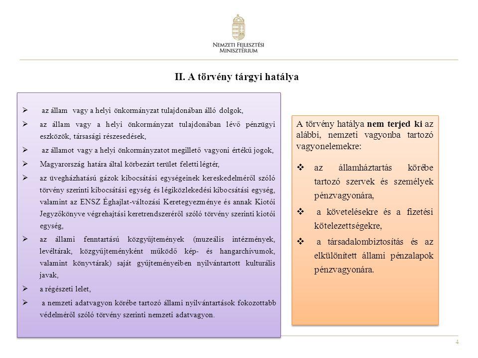 4 II. A törvény tárgyi hatálya A törvény hatálya nem terjed ki az alábbi, nemzeti vagyonba tartozó vagyonelemekre:  az államháztartás körébe tartozó
