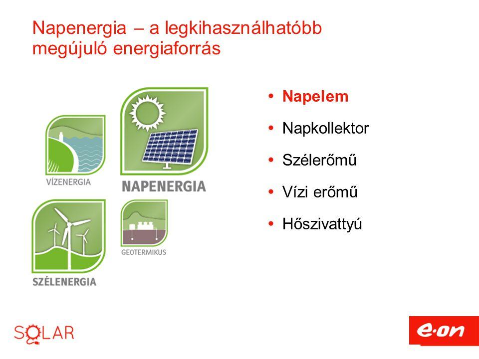 Napenergia – a legkihasználhatóbb megújuló energiaforrás  Napelem  Napkollektor  Szélerőmű  Vízi erőmű  Hőszivattyú