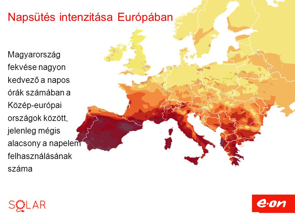 Napsütés intenzitása Európában Magyarország fekvése nagyon kedvező a napos órák számában a Közép-európai országok között, jelenleg mégis alacsony a na