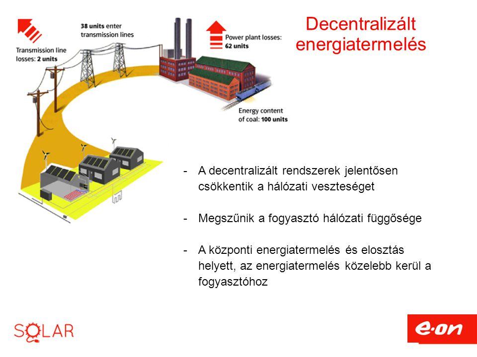 Decentralizált energiatermelés -A decentralizált rendszerek jelentősen csökkentik a hálózati veszteséget -Megszűnik a fogyasztó hálózati függősége -A központi energiatermelés és elosztás helyett, az energiatermelés közelebb kerül a fogyasztóhoz