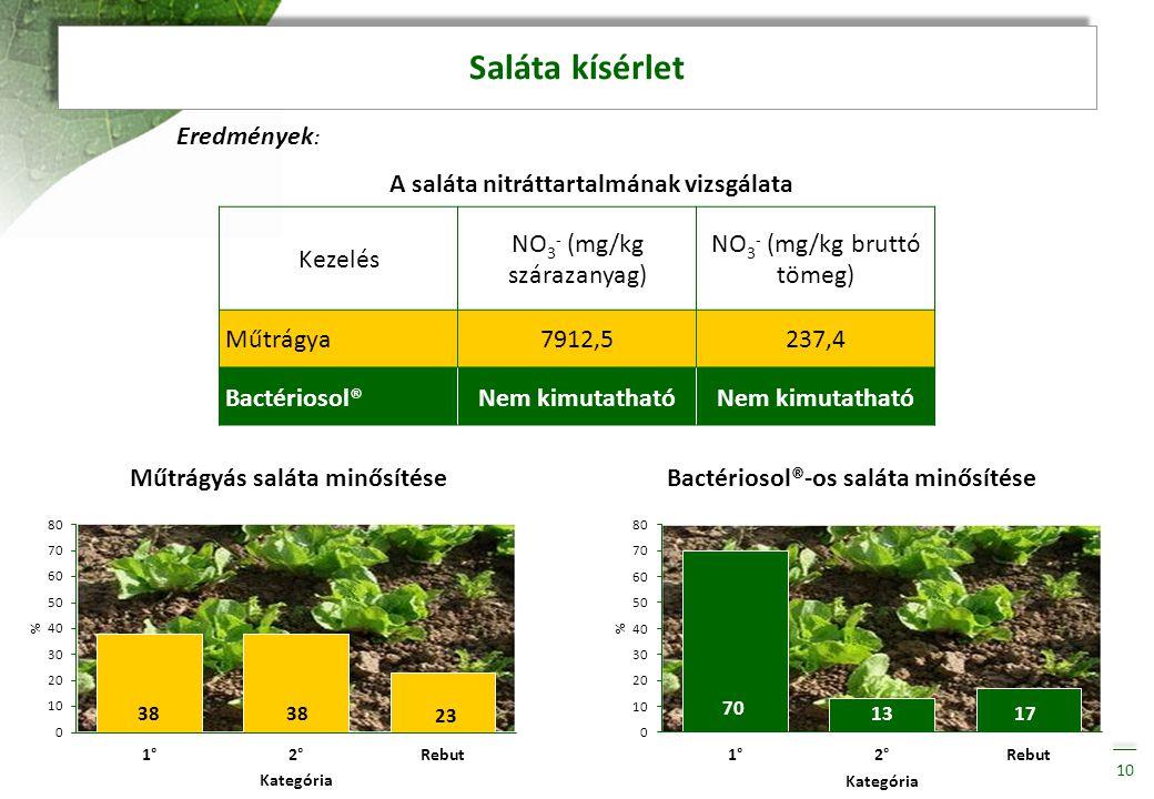 Saláta kísérlet 10 Kezelés NO 3 - (mg/kg szárazanyag) NO 3 - (mg/kg bruttó tömeg) Műtrágya7912,5237,4 Bactériosol®Nem kimutatható Eredmények : A salát