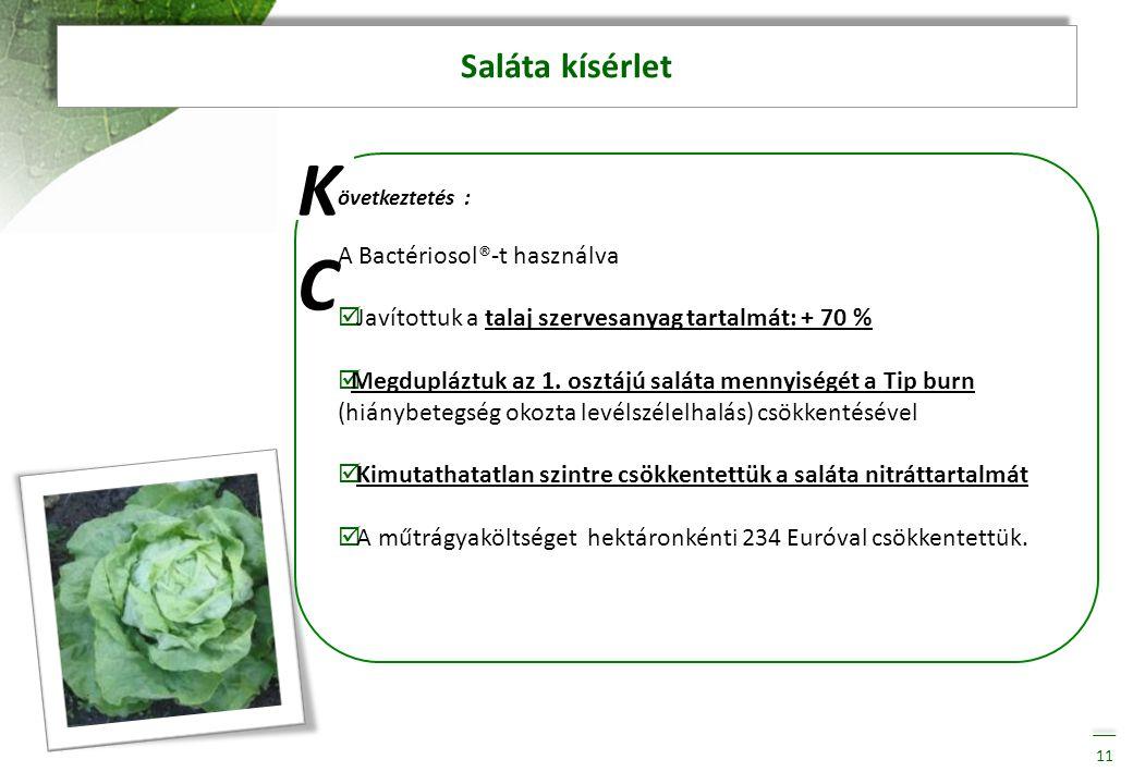Saláta kísérlet 11 KCKC övetkeztetés : A Bactériosol®-t használva  Javítottuk a talaj szervesanyag tartalmát: + 70 %  Megdupláztuk az 1. osztájú sal