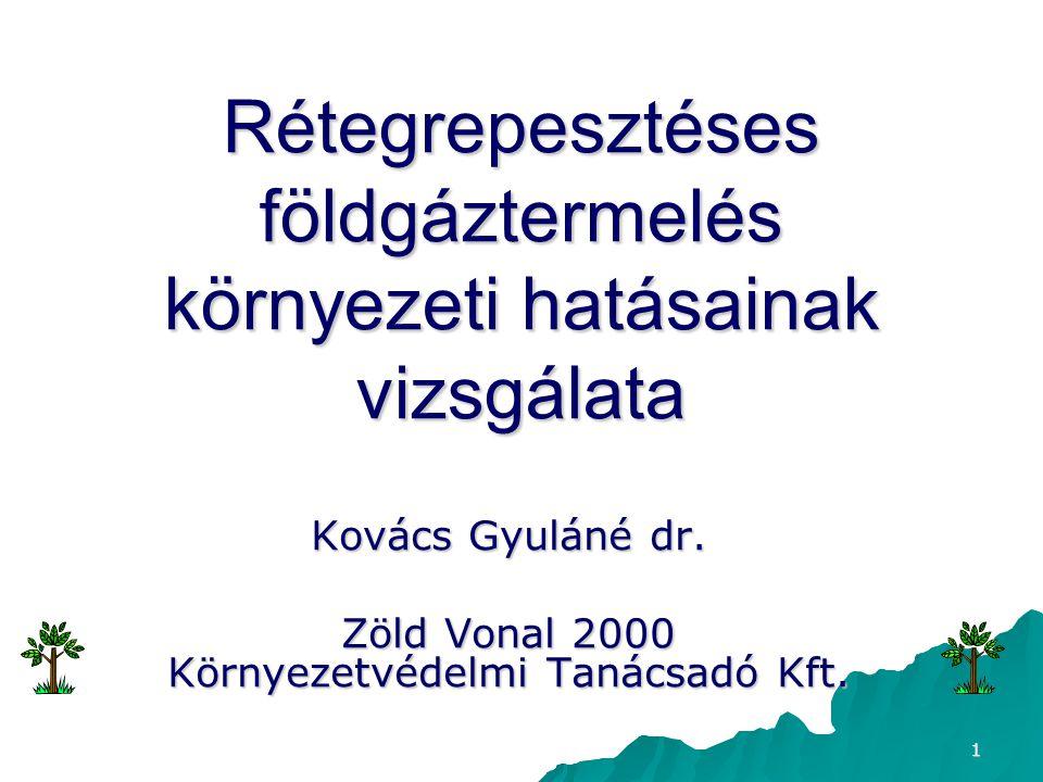 1 Rétegrepesztéses földgáztermelés környezeti hatásainak vizsgálata Kovács Gyuláné dr. Zöld Vonal 2000 Környezetvédelmi Tanácsadó Kft.