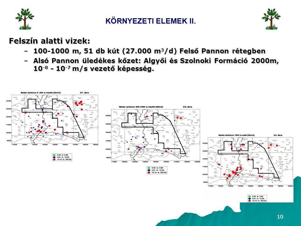 10 KÖRNYEZETI ELEMEK II. Felszín alatti vizek: –100-1000 m, 51 db kút (27.000 m 3 /d) Felső Pannon rétegben –Alsó Pannon üledékes kőzet: Algyői és Szo