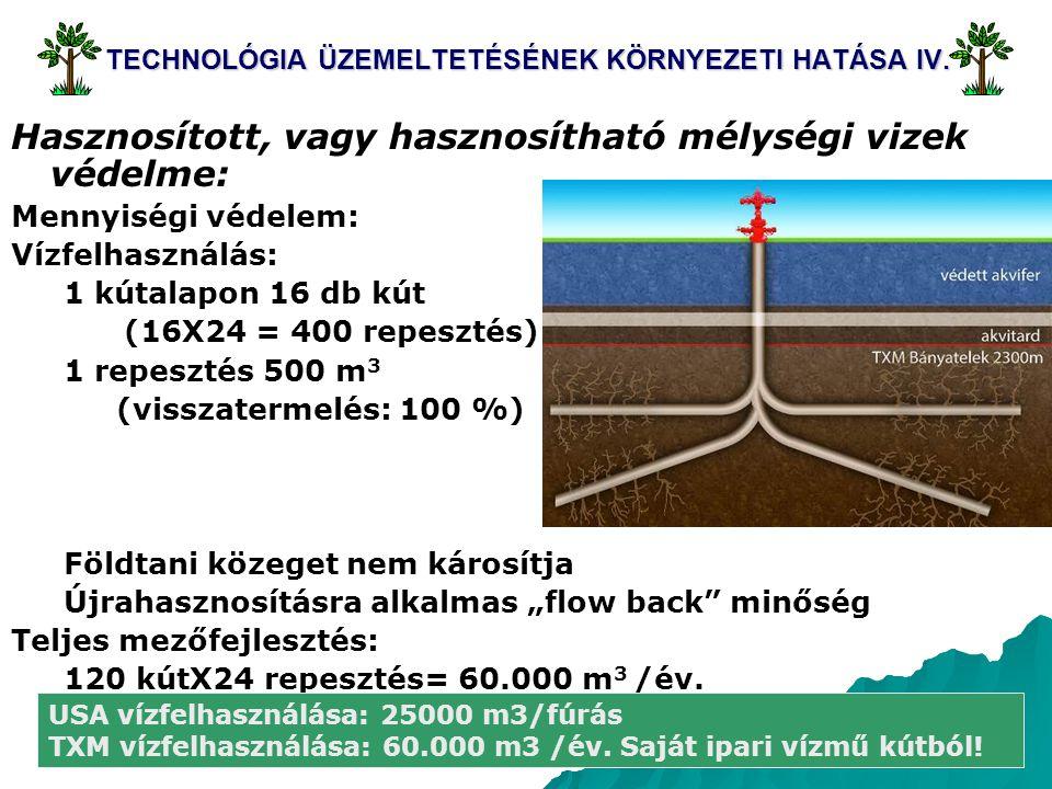 19 TECHNOLÓGIA ÜZEMELTETÉSÉNEK KÖRNYEZETI HATÁSA IV. Hasznosított, vagy hasznosítható mélységi vizek védelme: Mennyiségi védelem: Vízfelhasználás: 1 k