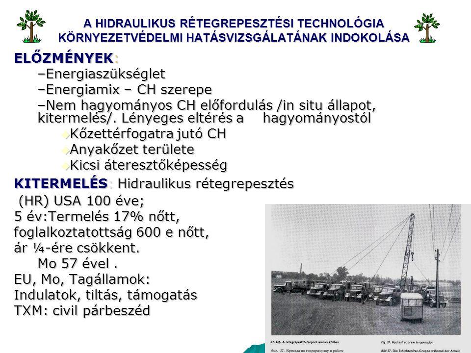 2 A HIDRAULIKUS RÉTEGREPESZTÉSI TECHNOLÓGIA KÖRNYEZETVÉDELMI HATÁSVIZSGÁLATÁNAK INDOKOLÁSA ELŐZMÉNYEK: –Energiaszükséglet –Energiamix – CH szerepe –Nem hagyományos CH előfordulás /in situ állapot, kitermelés/.